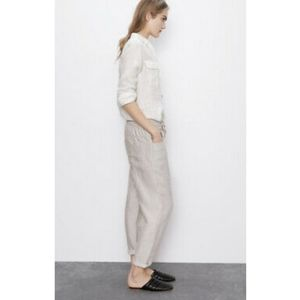 Zara Linen Rustic Drawstring Crop Trouser Pant